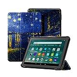 OLAIKE Custodia per Tutto nuovo tablet Kindle Fire HD 8/8 Plus(10a Generazione, 2020), Copertura del supporto a tre ante con Auto Sleep/Wake (Solo per 2020 Fire HD 8/8 Plus),La notte stellata