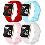 Brigtlaiff Pack 4 Compatible with Watch Band 38mm 40mm 42mm 44mm, Soft Silicone Replacement Band for Watch Series SE/6/5/4/3/2/1 (Red/Light Blue/White/PinkSand, 42mm/44mm-S/M)