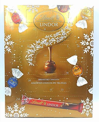 Lindt Lindor Assortiert Schokoladentrüffel Adventskalender 325 g, enthält auch Milchschokoriegel - Spaß Countdown zu Weihnachten