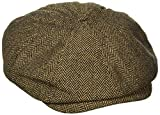 BRIXTON Brood Newsboy Snap Hat Gorro Newsie, Brown/Khaki Herringbone, Extra-Small para Hombre