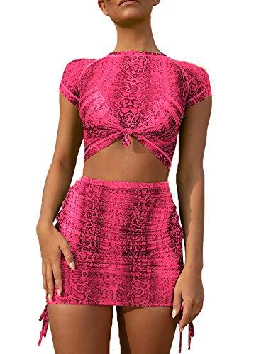 Womens 2 Piece Dress Suit Snake Skin Print High Waist Mini Skirt Party Clubwear M Pink