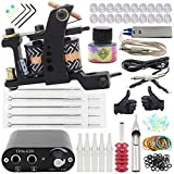 Complete Tattoo Kit - Yuelong Pro Tattoo Machine Kits Liner Shader Coils Tattoo Machine Guns with Power Supply Foot Pedal Pigment Inks Tattoo Needles Tips Grips Tattoo Accessices Tattoo Supplies