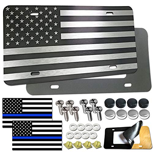 Aootf American Flag License Plate- Novelty Patriotic Pledge of Allegiance Auto Car Tag, Personalized Aluminum USA Front Plate Black White, 4 Hole Heavy Duty, Screws, Caps, Thin Blue Line Tag Decal