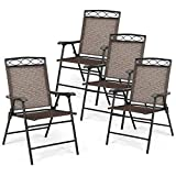 Giantex Set of 4 Patio Folding Chairs, Outdoor Dining Chairs for Camping, Beach, Backyard, Deck Portable Dining Chair w/Armrest and Metal Frame, 4-Pack Patio Chairs (Brown)