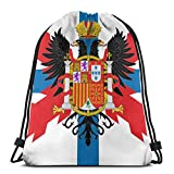 Sac à Dos à Cordon School Daypacks Drawstring Backpack Fictional Flag of Spain and Portugal Canvas Bulk Sackpack for Men Women String Sports Gym Bag