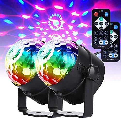Disco Ball Light, MORFIT Dj Lights led Party Lights Sound Strobe 7 Colors Modes with Remote Control for Dances Parties Karaoke Wedding Club Christmas UK STOCK (2 pcs)