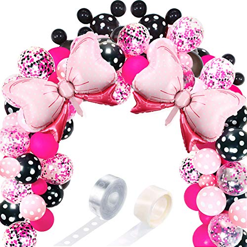 119 Mouse Balloon Garland Arch Kit Includes Pink Bow Foil Balloons, Pink Rose Red Black Dot Latex Balloons with Balloon Strip and Glue Points for Mouse Theme Party Baby Shower Birthday Wedding Decor