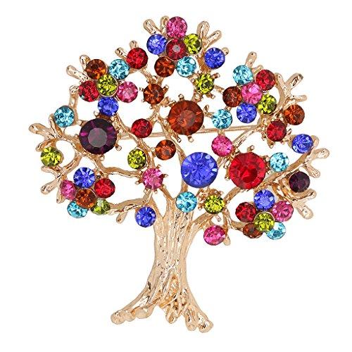 MagiDeal Broche de árbol de Vida Alfiler de Rhinestone Joyería de Moda de Boda Fiesta para Mujeres Regalo de Multicolor