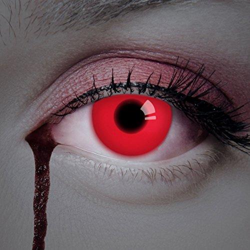 aricona Kontaktlinsen - Rote UV Kontaktlinsen ohne Stärke - Farbige Kontaktlinsen mit UV Spezialeffekt für Karneval, Fasching, Cosplay und Motto-Partys, 2 Stück