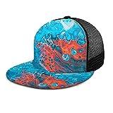 ZORIN Brim Flat Baseball Caps 3D Mesh Cappelli Blu Bianca Rosso Miscelazione Liquido Marmo Snapback