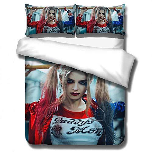 Juego de ropa de cama Suicide Squad Animation 3D, funda de edredón grande y ropa de cama de funda de almohada, textiles para el hogar adecuados para adolescentes y adultos-1_200 * 230 cm (3 piezas)