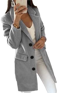 Womens Classic Fit Long Sleeve Single-Breasted Pea Coat Overcoat