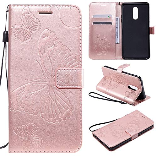 MyCase for LG Stylo 5 Butterfly Flower Flowered Pattern PU Leather Wallet Stand Case with Wrist Strap (Color : Rose Gold)
