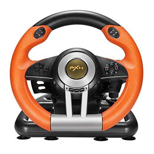 ZIHENGUO Volant de Course Contrôleur de Jeu à Commande de Rotation à 180 degrés, manettes de Jeu avec pédale Pliable pour PC / PS3 / PS4 / Xbox One Tout-en-Un,Orange