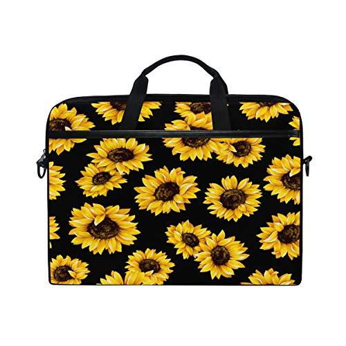 QMXO 14-14.5 inch Laptop Case,Floral Sunflower Summer Black Pattern Laptop Computer Sleeve Bag Protective Shoulder Bag Carrying Case Briefcase for Office Women Men