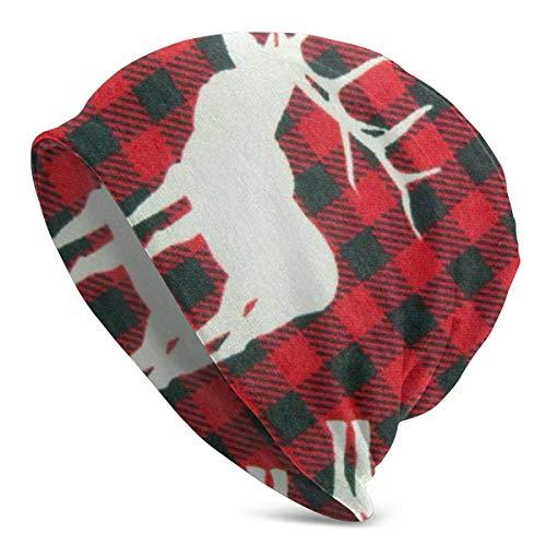GOSMAO Sombreros para Clima frío a Cuadros Rojos y Negros de Ciervo, Protector de Orejas para Gorro de Punto para Hombres y Mujeres