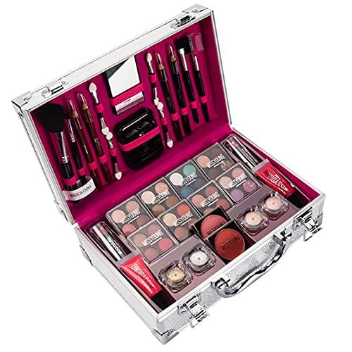 Zestaw do makijażu 56 sztuk cieni do powiek, pomadki, błyszczyki, zestaw kosmetyków, zestaw kosmetyczny, pudełko wielofunkcyjnego zestawu upominkowego do makijażu, z różnymi kolorami i wam