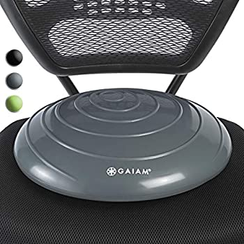 Gaiam Balance Disc Wobble Cushion Stability Core Trainer For Home Or Office Desk Chair & Kids Alternative Classroom Sensory Wiggle Seat - Grey  16 Inch