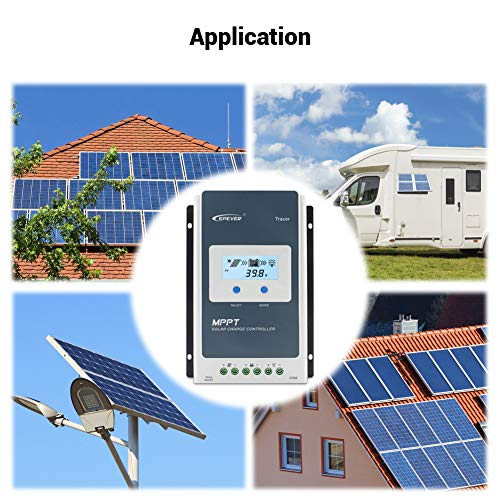 EPEVER 40A Solar Charge Controller MPPT 12V / 24V Auto Max.PV 100V Input Negative Ground Solar Panel Charge Regulator with MT50 Remote Meter Temperature Sensor RTS & PC Communication Cable RS485