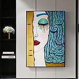 ganlanshu Cartel HD y Arte de Pared sobre Lienzo Abstracto Mujer Graffiti Cuadros decoración del hogar,Pintura sin Marco,75x103cm