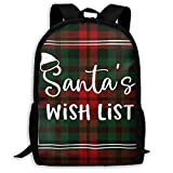 Hangdachang - Mochila escolar Buffalo Plaid Santas Wish List Christmas Bookbag Casual Travel Bag for Teen Boys Girls