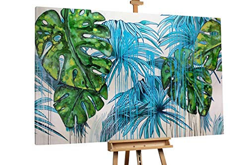 'Urlaubsstimmung' 180x120cm | Abstrakt Blätter Natur Grün Blau | Modernes Kunst Ölbild