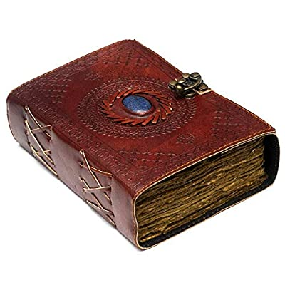 """Vintage Leather Journal with Semi Precious Stone - Lock Closure, 240 pages Antique Deckle Edge Paper - Book of Shadows, Grimoire Journal, Witch Journal for Men and Women - 7"""" x 5"""""""