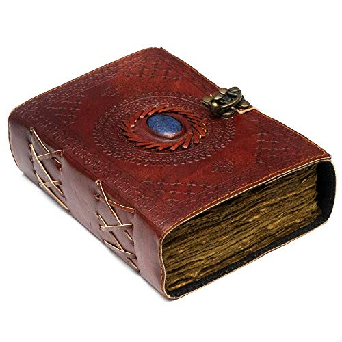 Vintage Leather Journal with Semi Precious Stone - Lock Closure, 240 pages Antique Deckle Edge Paper - Book of Shadows, Grimoire Journal, Witch Journal for Men and Women - 7' x 5'