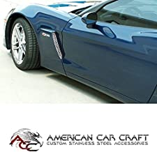 C6 ZO6 Corvette Front Side Cove Vent Screen Grilles Polished Stainless Steel Fits: 06 through 13 Z06 Corvettes Only