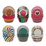 Bornfeel Caissettes Cupcakes Papier 600 Pièces 6 Styles 3,2 x 5 x 6,8cm pour Soirée de Mariage Cuisine Baking Dessert Bricolage Anniversaire