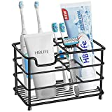 HBlife Electric Toothbrush Holder, Large Stainless Steel Toothpaste Holder Bathroom Accessories Organizer, Black
