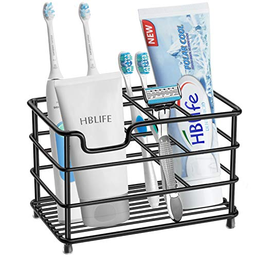 Price comparison product image HBlife Electric Toothbrush Holder,  Large Stainless Steel Toothpaste Holder Bathroom Accessories Organizer,  Black