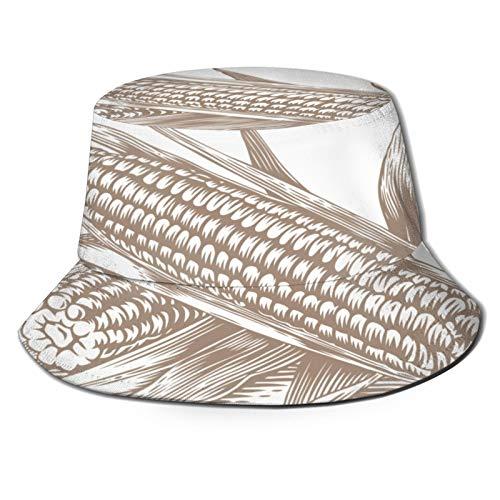 Sombrero de Pesca,Dibujo de Dos Hojas de mazorcas de maíz en Blanco,Senderismo para Hombres y Mujeres al Aire Libre Sombrero de Cubo Sombrero para el Sol