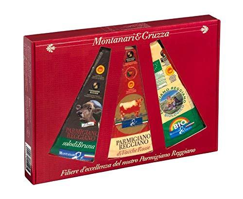 Cofanetto - Filiere d'eccellenza del nostro Parmigiano Reggiano - con 3 Spicchi da 300 gr (Solo di Bruna - Vacche Rosse - Biologico) Sottovuoto