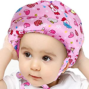 IULONEE Baby Infant Toddler Helmet No Bump Safety Head Cushion Bumper Bonnet Adjustable Protective Cap Child Safety Headguard Hat for Running Walking Crawling Safety Helmet for Kid (Pink Candy)