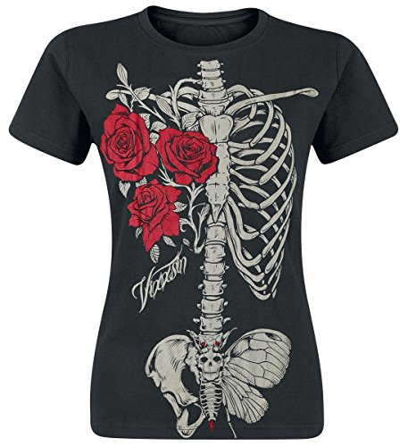 Vixxsin Rose Rib vrouwen T-shirt rozen en botten Skinny Fit T-shirt (groot)