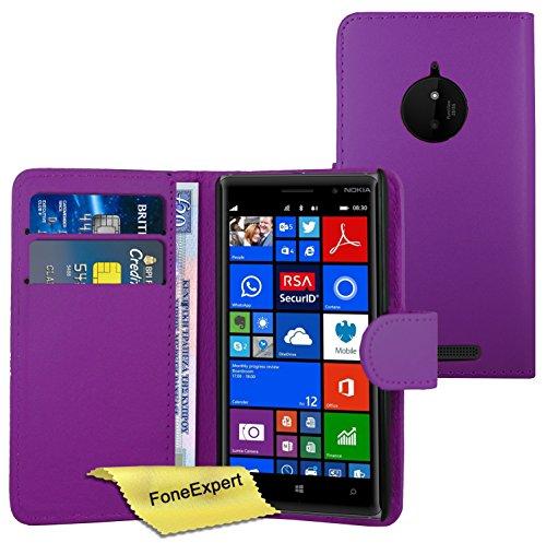 FoneExpert® Nokia Lumia 830 Hülle Wallet Hülle Flip Cover Hüllen Schutzhülle Etui Ledertasche Lederhülle Premium Schutzhülle für Nokia Lumia 830 + Bildschirmschutzfolie (Purple)