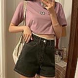 ShSnnwrl Pantalones Cortos de Mujer Shorts Womens Summer Lace Patchwork Straight Button High Waist Casual Chic Denim Girls Korean Style Harajuku