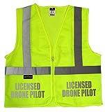 Licensed Drone Pilot safety vest with REFLECTIVE design, High Visibility vest (xxl/xxxl)
