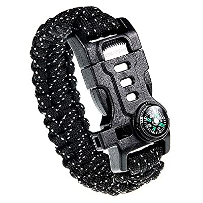 Paracord Survival Bracelet with Paracord Rope, 5-in-1 Tactical Bracelet Fire Starter, Compass, Emergency Whistle & Small Knife for Hiking Traveling Camping Gear Kit (Black_Reflective)