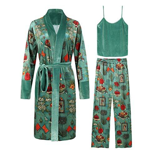 XJJZS Moda otoño Multicolor impresión Terciopelo Mujer 3 Piezas Pijama Conjuntos Invierno Vintage Sexy Robe Conjuntos de Ropa de Dormir Femenina Elegante
