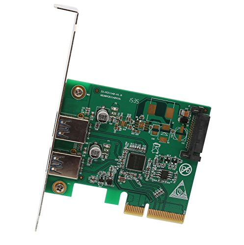 I/O Crest 2 Port PCI Express x1 (PCIe) SuperSpeed USB 3.0 Card Adapter with UASP - SATA Power - Renesas Chipset