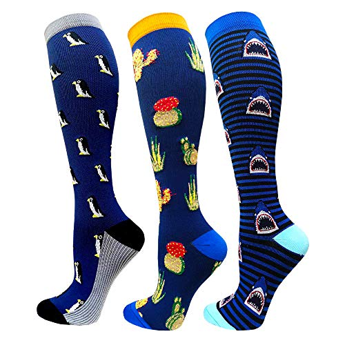 Compression Socks For Women&Men 1/3/6 Pairs - Best Medical for Running Athletic Flight Travel Circulation Recovery, 20-30mmHg (Assorted 23-3 Pairs, Large/X-Large)