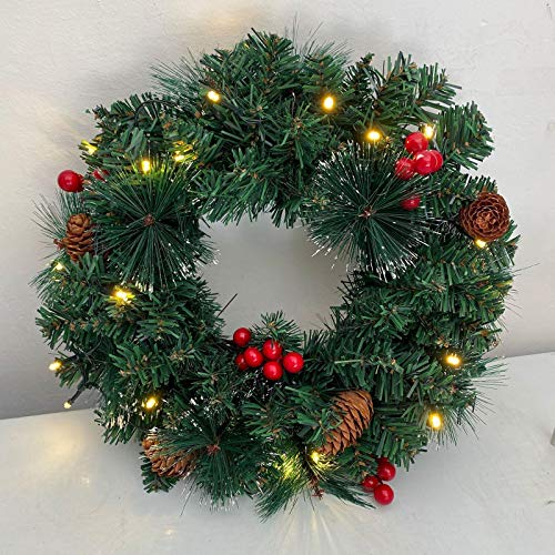 BOPP Christmas Door Wreaths 11.8Inch/30Cm Christmas Pinecone & Berries Greenery Ornaments Wreath Christmas Garland with Lights Decoration for Front Door Fireplace Window Frame