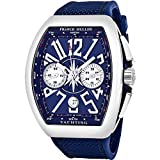 Franck Muller Vanguard Mens Automatic Date Chronograph Blue Face Blue Rubber Strap Watch V 45 CC DT Yachting AC.BL