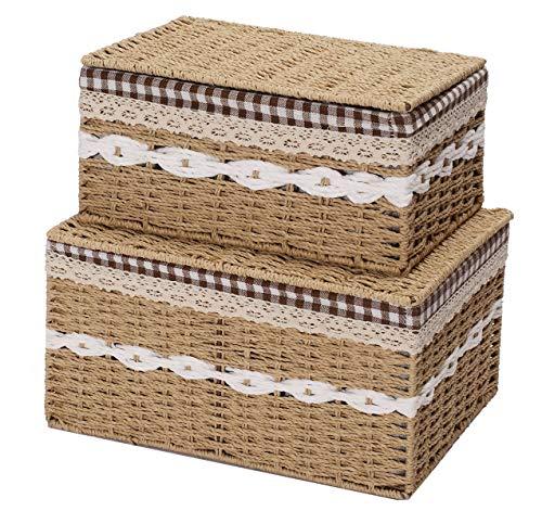 Xbopetda Handmade Wicker Storage Baskets Set Shelf Baskets Natural Home Storage Bins Organizing Baskets,Arts and Crafts Decorative Nesting Baskets(Set of 2,Beige)