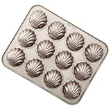 CHEFMADE Madeleine Mold Cake Pan, 12-Cavity Non-Stick Spherical Shell Madeline Bakeware fo...