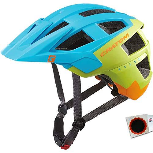 Cratoni Fahrradhelm AllSet MTB Gr. M/L 58-61cm blau Lime orange matt +Flicken