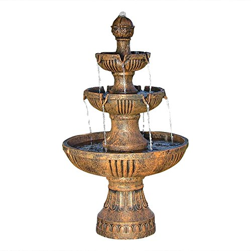 Sunnydaze Flower Blossom Outdoor Water Fountain - 3-Tiered Fountain for Patio & Backyard Waterfall Feature - 43 Inch Tall - Earth Finish
