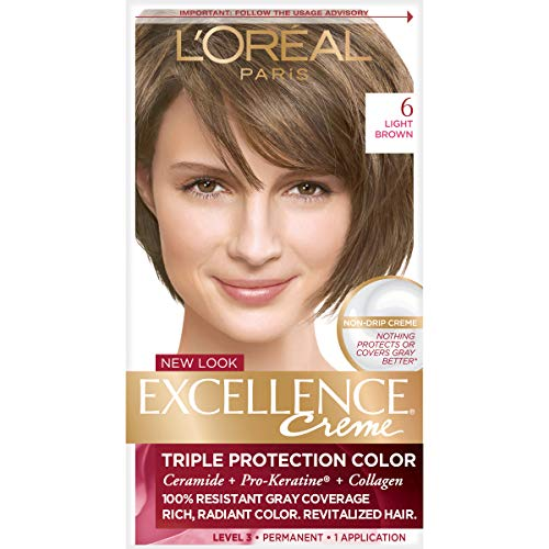 L'Oreal Paris Excellence Creme Permanent Hair Color, 6 Light Brown, 100% Gray Coverage Hair Dye, Pack of 1 (Dark Brown Hair With Blonde Highlights On Top)